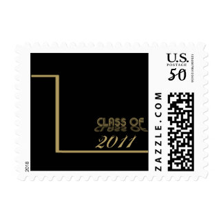 Retro Gold and Black Graduation Postage Stamp