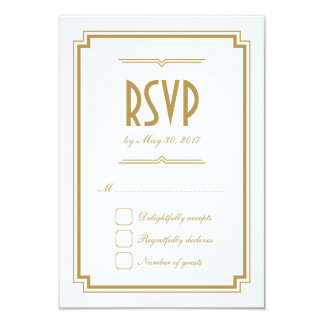 Retro Gold Art Deco Frame White Wedding RSVP Card