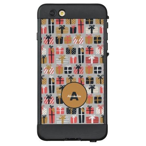Retro gold Christmas gift pattern monogram LifeProof NÜÜD iPhone 6 Plus Case