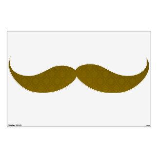 Retro Gold Damask Mustache Wall Decor