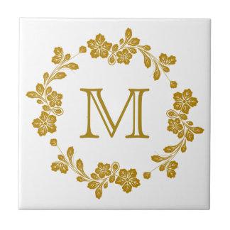 Retro Gold Floral Border Monogram Ceramic Tile