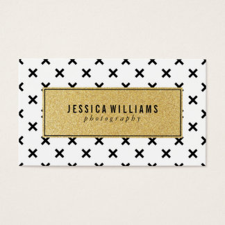 Retro Gold Glitter Business Cards