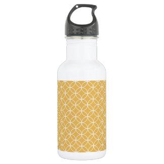 Retro Gold, Golden Circles Pattern Water Bottle