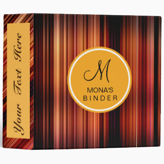 Retro Gold red Striped Personalize Monogram Binder