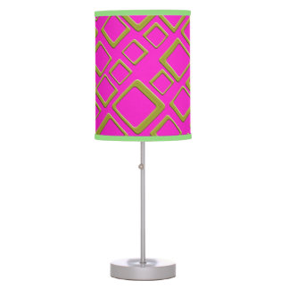 Retro Gold Squares On Hot Pink Table Lamp