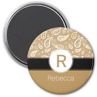 Retro Golden Paisley Monogram and Name Pattern Magnet