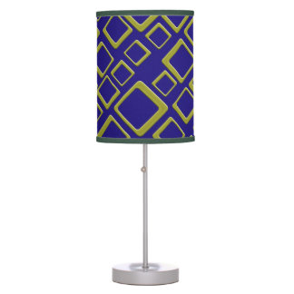 Retro Golden Squares On Blue Table Lamp