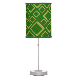 Retro Golden Squares On Green Table Lamp