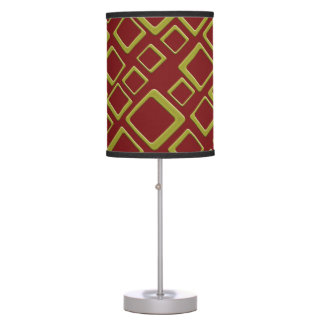 Retro Golden Squares On Maroon Table Lamp