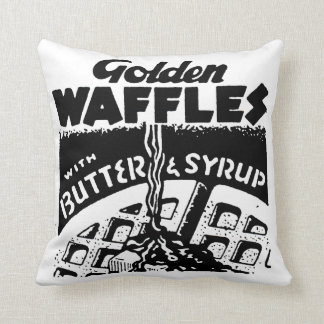 Retro Golden Waffles Throw Pillow