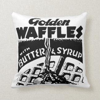 Retro Golden Waffles Throw Pillow