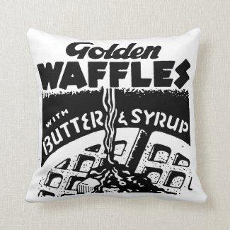 Retro Golden Waffles Throw Pillows