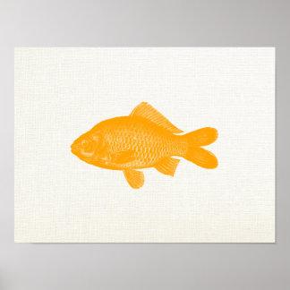 Retro Goldfish Art Poster