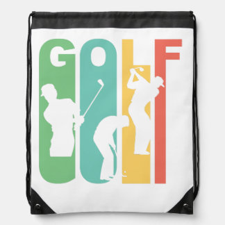 Retro Golf Drawstring Bag
