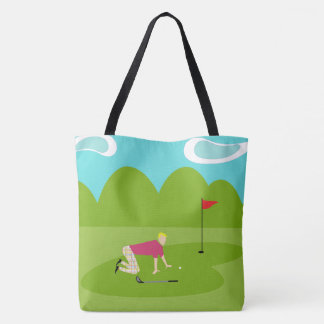 Retro Golfer All-Over Print Tote Bag