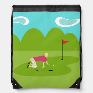 Retro Golfer Drawstring Backpack