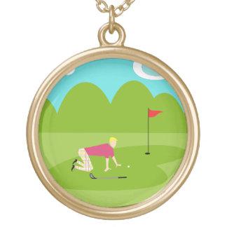 Retro Golfer Necklace