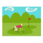 Retro Golfer Postcard