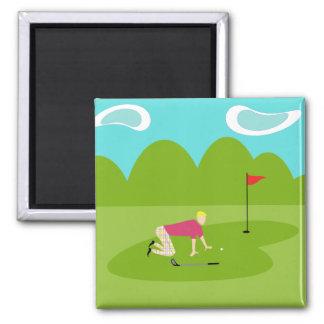 Retro Golfer Square Magnet