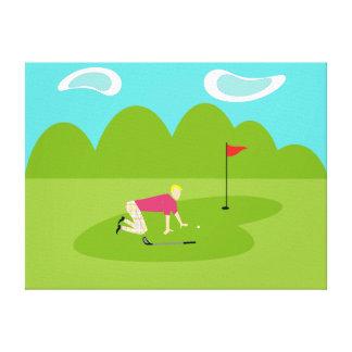 Retro Golfer Stretched Canvas Canvas Print