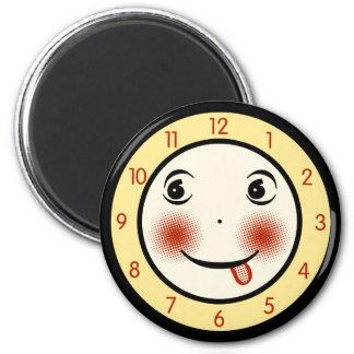Retro Goofy Clock Face Magnet