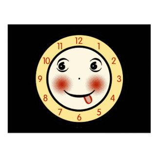 Retro Goofy Clock Face Postcard