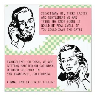 Retro Gossip Couple Save the Date Cards