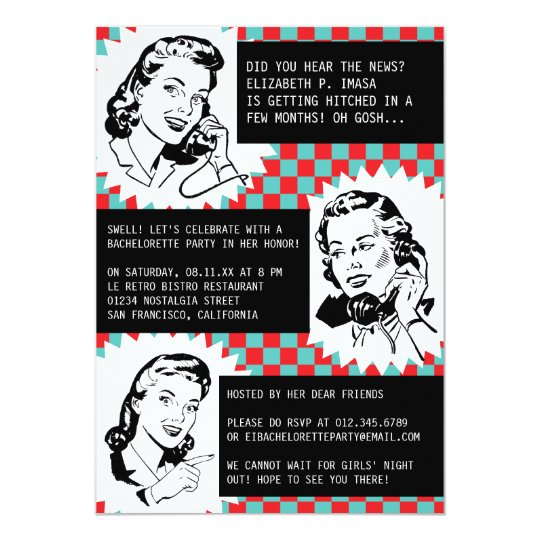 Retro Gossip Gals Bachelorette Party Invitations