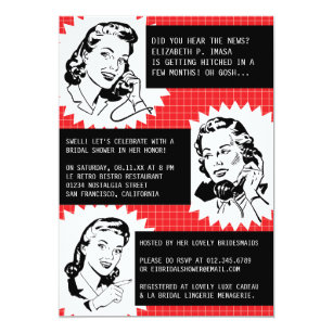 Funny bridal shower invitations announcements zazzle retro gossip gals bridal shower invitations filmwisefo
