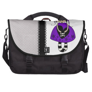 Retro Goth Girl with Skulls Laptop Messenger Bag