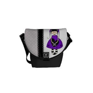 Retro Goth Girl with Skulls Messenger Bag