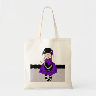 Retro Goth Girl with Skulls Tote Bags