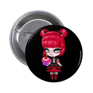 Retro Goth Gothic Girl 2 Inch Round Button