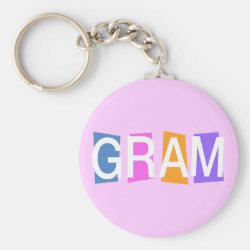 Retro Gram Basic Button Keychain