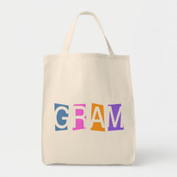 Grocery Tote with Retro Gram design