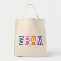 Grocery Tote with Retro Gram design
