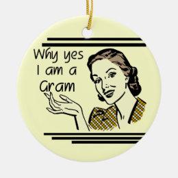 Retro Gram Tshirts and Gifts Ceramic Ornament