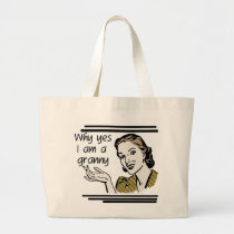 Retro Granny T-shirts and Gifts Large Tote Bag