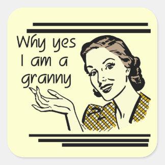 Retro Granny T-shirts and Gifts Square Sticker