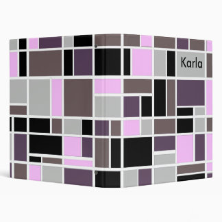 Retro Grape Squares 3 Ring Binder
