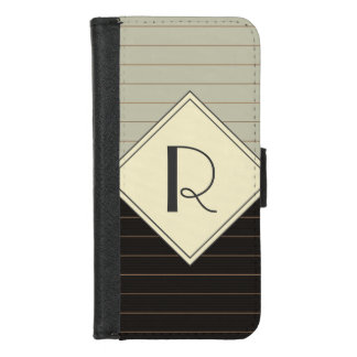 Retro Gray and Black Stripe Monogram iPhone 8/7 Wallet Case