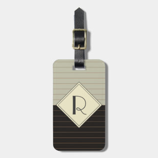 Retro Gray and Black Stripe Monogram Tags For Bags