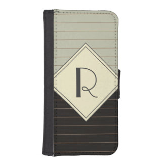 Retro Gray and Black Stripe Monogram iPhone 5 Wallet