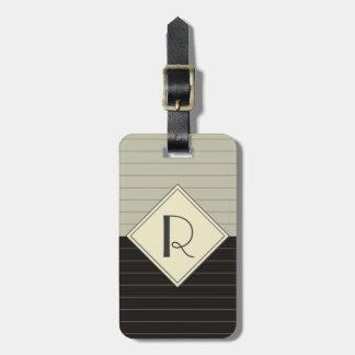 Retro Gray and Black Stripe Monogram Tags For Bags