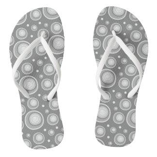 Retro Gray And White Polka Dots Pattern Flip Flops