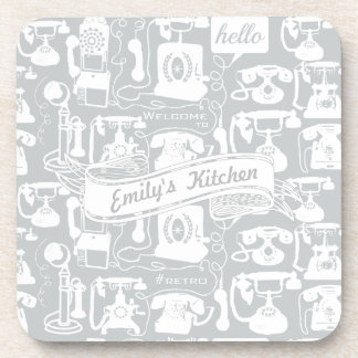 Retro Gray or Any Color Telephone Pattern Coaster
