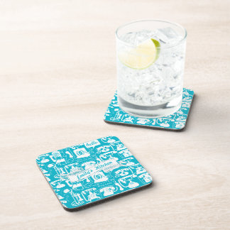 Retro Gray or Any Color Telephone Pattern Beverage Coaster