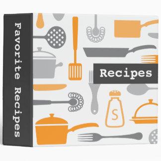 Retro gray orange kitchen recipe binder organizer