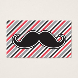 Retro gray red stripes black handlebar mustache business card