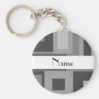 Retro gray squares personalized name basic round button keychain